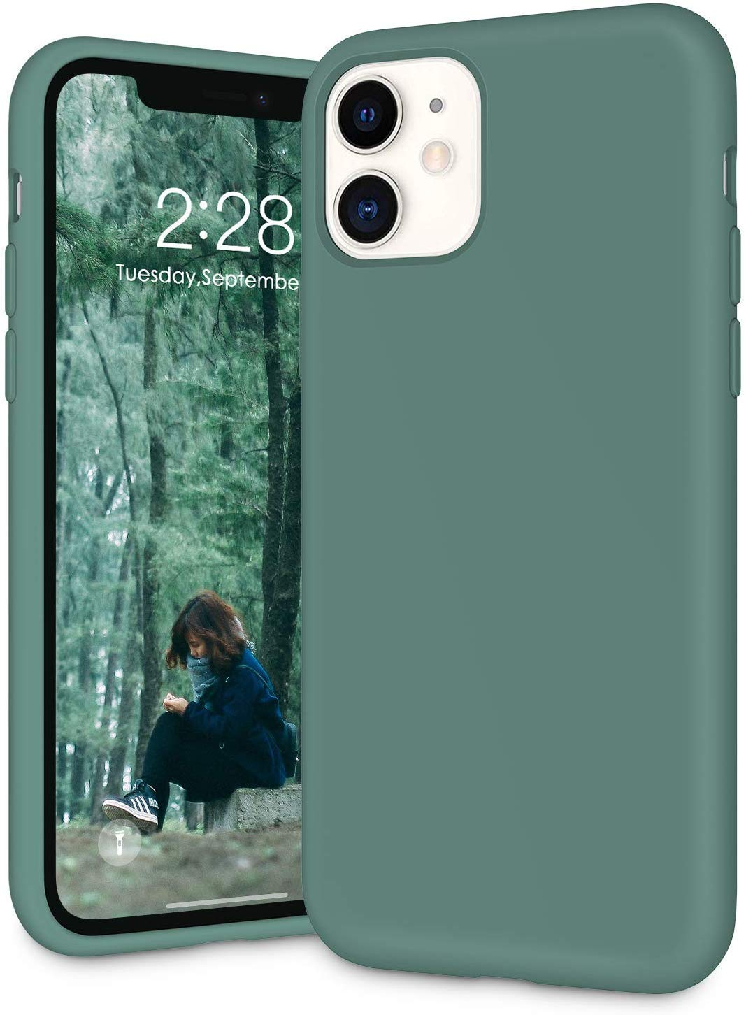 """IceSword iPhone 11 Case, Pine Green iPhone 11 Silicone Case, Gel Rubber Full Body, iPhone 11 Cute iPhone 11 case, Soft Microfiber Cloth, 6.1"""" iPhone 11 case Silicone, iPhone 11 case Cute - Pine Green"""