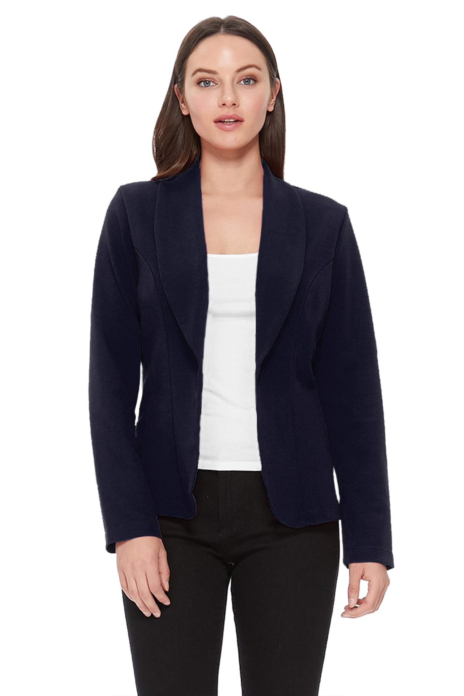 Women's Solid Basic Casual Long Sleeves Work Office Outerwear Blazer Jacket Navy L