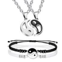 Myrnaist Men Women Yin Yang Couple Bracelet for 2 Adjustable Matching Distance Relationship Bracelets for Him and Her Yin Yang Pendant Necklace Set