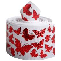 """Laser Holographic Grosgrain Ribbon Animal Butterfly Printed 3"""" Wide 5 Yards DIY Hair Bow Valentine's Day Wedding Party Birthday Bridal Decoration (Butterfly)"""