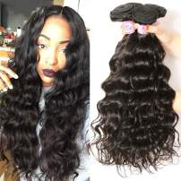 Beauty Forever Hair Brazilian Natural Wave Virgin Hair Weave 3 Bundles 100% Unprocessed Human Hair Extensions Natural Color 95-100g/pc (8 10 12)