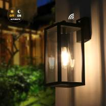 Outdoor Dusk to Dawn Wall Light, BRIMMEL Outdoor Light Fixtures Wall Mount with Photocell Sensor. Exterior Wall Lantern, Anti-Rust Wall Sconce Light Fixture with Clear Glass Shade, Matte Black