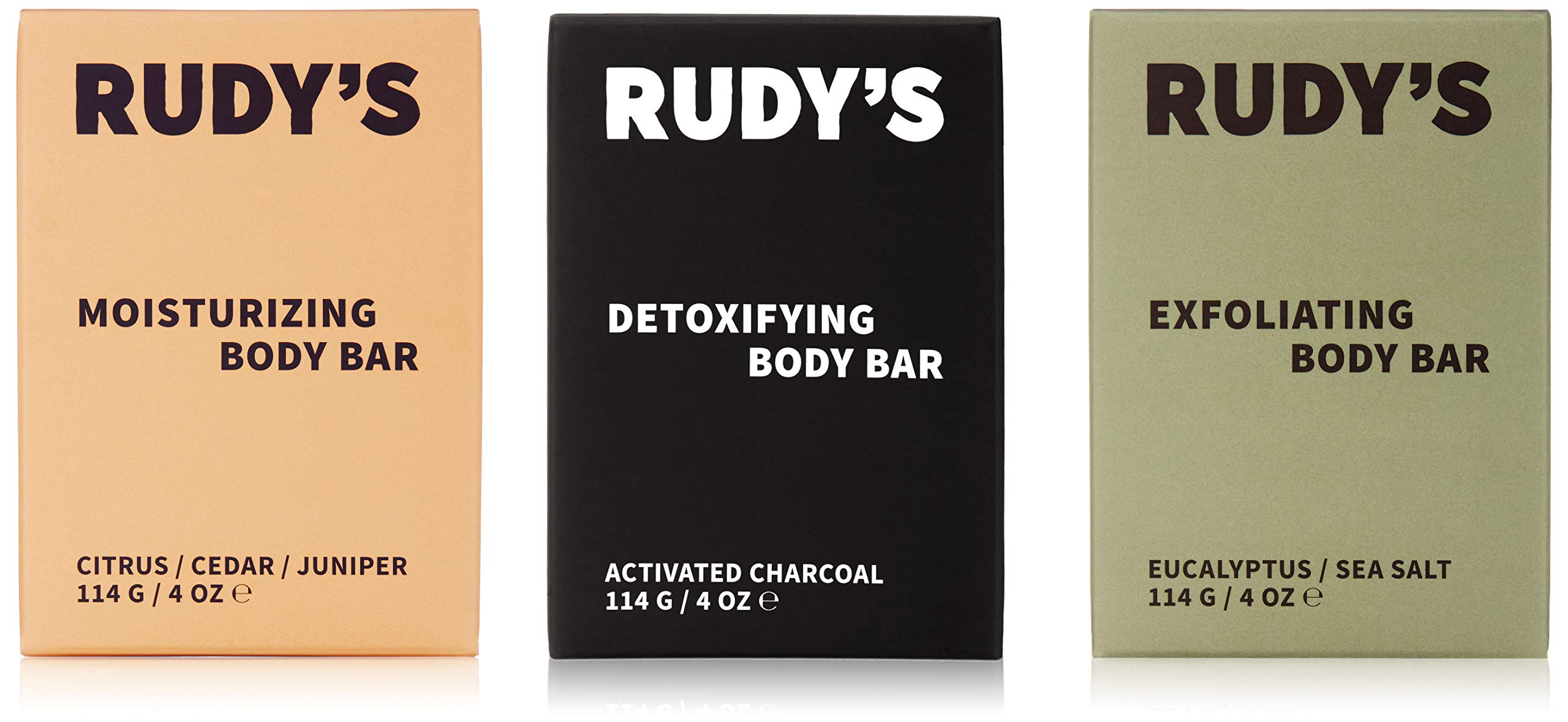 RUDY'S Body Bar, Set of 3, Sulfate and Paraben Free, Made from Natural Vegan Ingredients, Sustainably Sourced and Made in USA