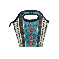 Naanle Tribal Ethnic Aztec Insulated Zipper Lunch Bag Cooler Tote Bag for Adult Teens Kids Girls Boys Men Women, Native American Vintage Lunch Boxes Lunchboxes Meal Prep Handbag for School Office