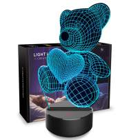 3D Night Light Teddy Bear 3D Lamp Optical Illusion Nightlights Touch Switch Bedside Lamp 7 Colors Changing LED Lamps Perfect Birthday Gifts for Girls Kids Children Boys Adults Women (N01 Bear)
