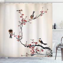 """Ambesonne Nature Shower Curtain, Birds on Cherry Tree Branches Summer Classic Oriental Illustration, Cloth Fabric Bathroom Decor Set with Hooks, 75"""" Long, Ruby Caramel"""