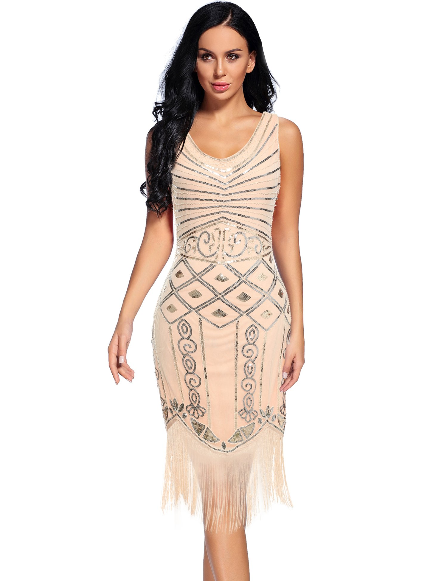 1920 Dresses V Neck Sequin Flapper Great Gatsby Fringed Cocktail Dress