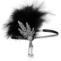 qanyue 1920s Flapper Headband Roaring 20s Great Gatsby Feather Headpiece