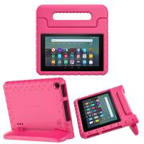 MoKo Kids Case Fits All-New Amazon Kindle Fire 7 Tablet (9th Generation, 2019 Release), Durable EVA Kid-Friendly Shock Proof Portable Handle Protective Stand Cover - Magenta