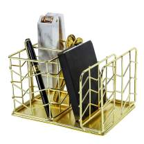 Simmer Stone Desk Accessories Organizer, 2 Slot Pen Holder with Mail Sorter, Decorative Wire Home Office Supplies Organizer Caddy, Gold