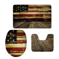 CHAQLIN USA Flag Pattern Bath Mat,Wood,Rustic Old Barn Wood Bathroom Carpet Rug,Non-Slip Back 3 Piece