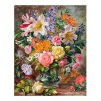 RICUVED DIY Oil Painting Kit, Canvas Paint by Numbers for Beginner Acrylic Paintworks with Paintbrushes Home Wall Decor 16x20 inch Flowers