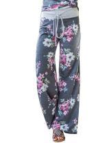 Voopptaw Women's Casual Pajama Pants Floral Print Drawstring Wide Leg Palazzo Lounge Pants