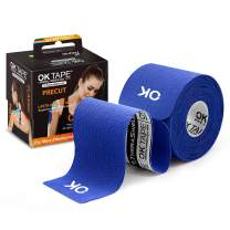 OK TAPE Sports Kinesiology Tape - 20 Strips Precut Latex Free Waterproof Athletic Tape for Pain Relief, Supports and Stabilizes Muscles & Joints Lasts Upto 3 Days- 2inch x 16.4 feet Roll Navy Blue