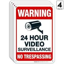 Video Surveillance Sign, No Trespassing Sign, Security Warning, 10x7 Heavy 0.40 Aluminum, (4 Pack) UV Protected, Weather/Fade Resistant, Easy Mounting, Indoor/Outdoor Use, Made in USA by SIGO SIGNS