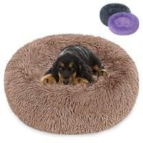 PeroBuno Dog Bed Cat Bed Donut,The Original Shag Vegan Fur Donut Cuddler for Medium Small Dogs Ultra Soft Calming Bed Multiple Sizes(S20'',Khaki)…