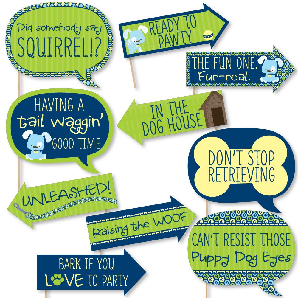 Funny Boy Puppy Dog - Baby Shower or Birthday Party Photo Booth Props Kit - 10 Piece