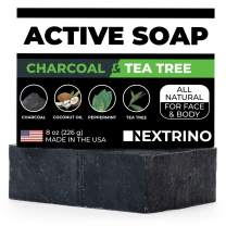 Activated Charcoal Tea Tree Soap - with Peppermint! Made in the USA: All Natural, Vegan Bar Soap with Organic Oils for Face & Body. Wash Away Odor & Germs (Single 4 Ounce Soap Bar)