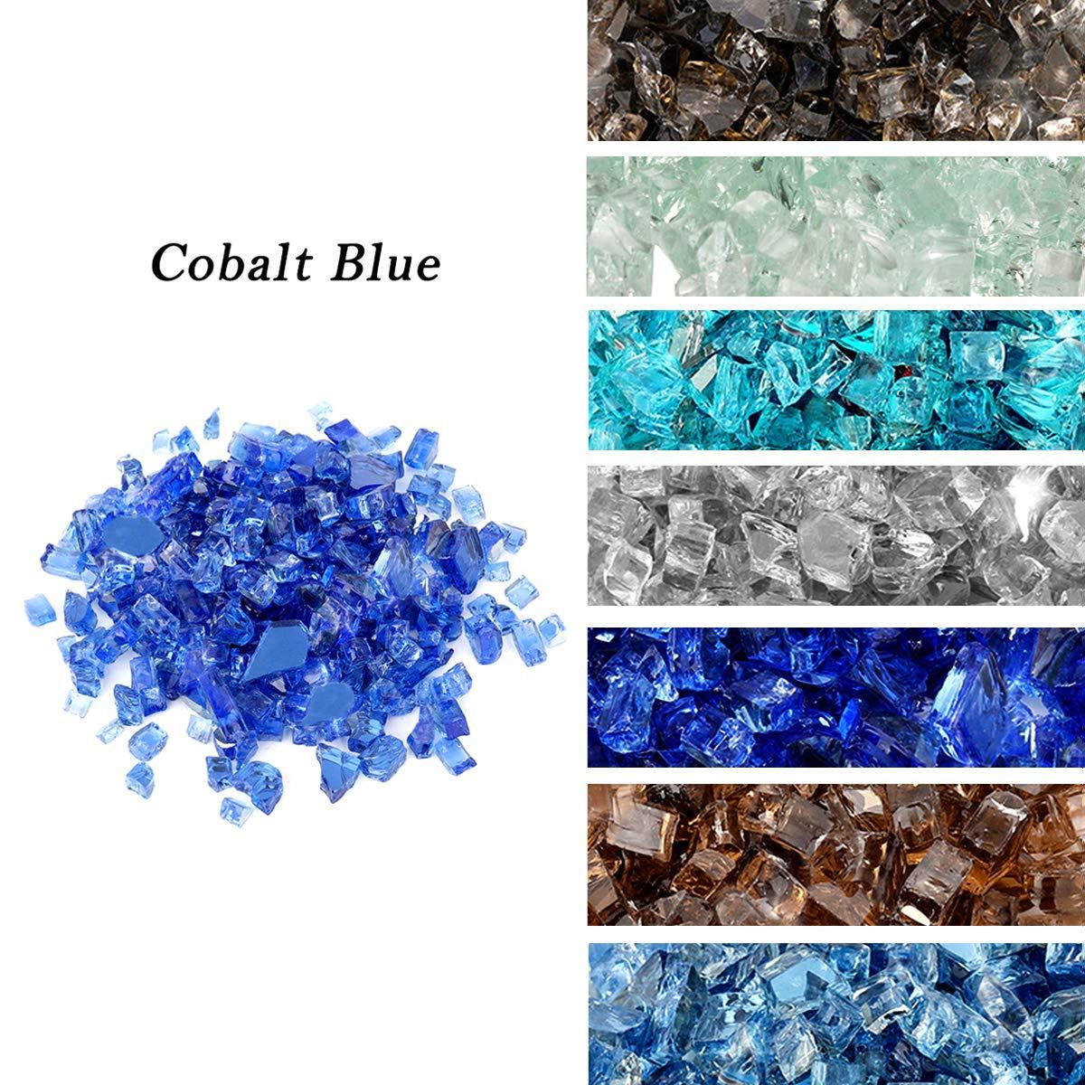 "Skyflame High Luster 10-Pound Regular Fire Glass for Fire Pit Fireplace Garden Landscaping Cobalt Blue 1/4"" Size"