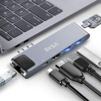 """Thunderbolt 3 hub, EKSA 7 in 1 Dual USB C Hub for MacBook Pro 2016/2017/2018 13"""" and 15"""", MacBook Air 2018 Adapter with 4K USB C to HDMI, 100W Power Delivery, Ethernet Port,2xUSB3.0,SD/TF Card Reader"""