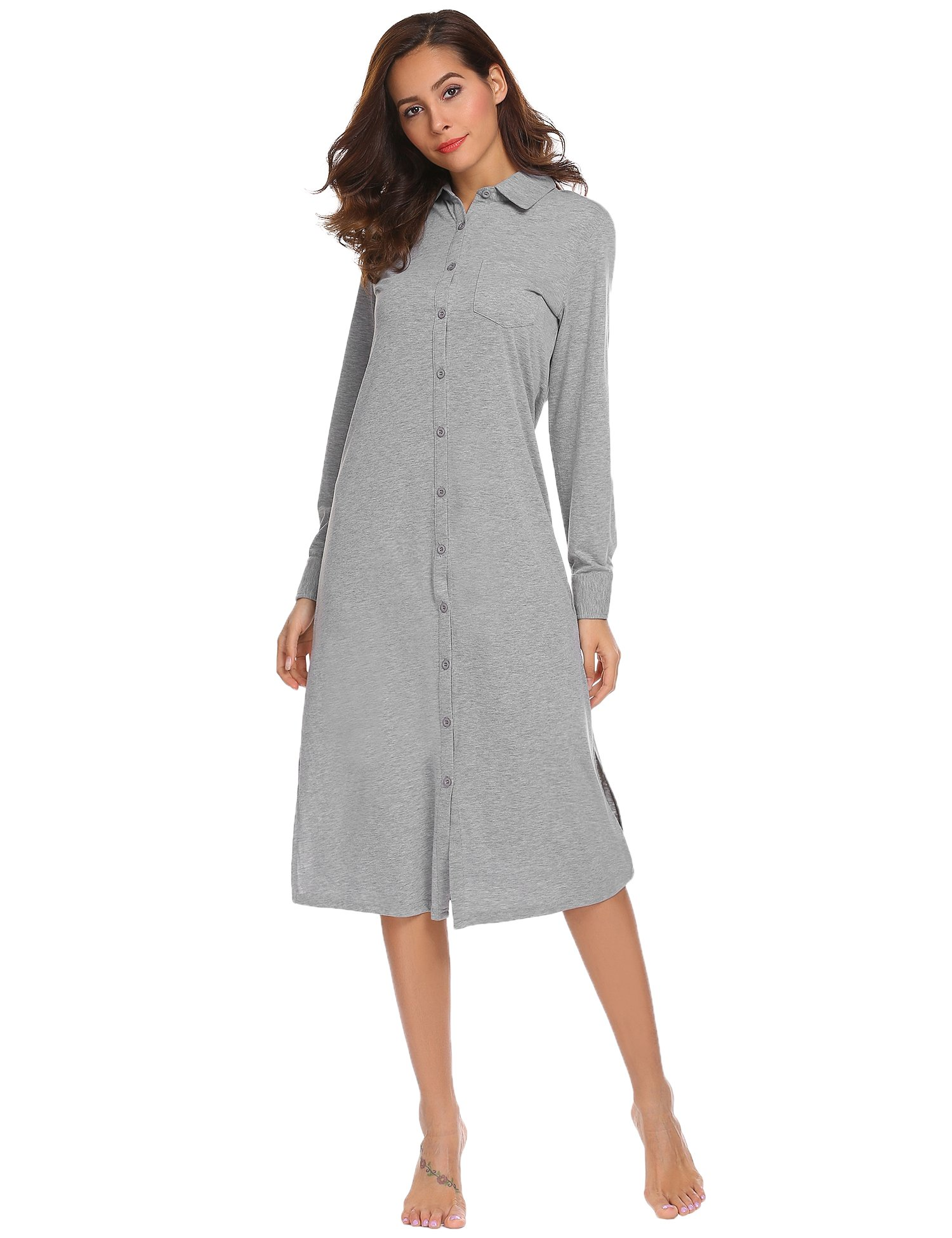 Ekouaer Womens 1 Piece Long Sleeve Nightgown Pajama Top Buttom Down Sleep Shirt Dress S-XXL
