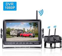 FHD 1080P Digital Wireless 2 Backup Cameras with 7'' DVR Monitor for Trailers,Trucks,RVs, High-Speed Observation System Support Split/Quard Screen