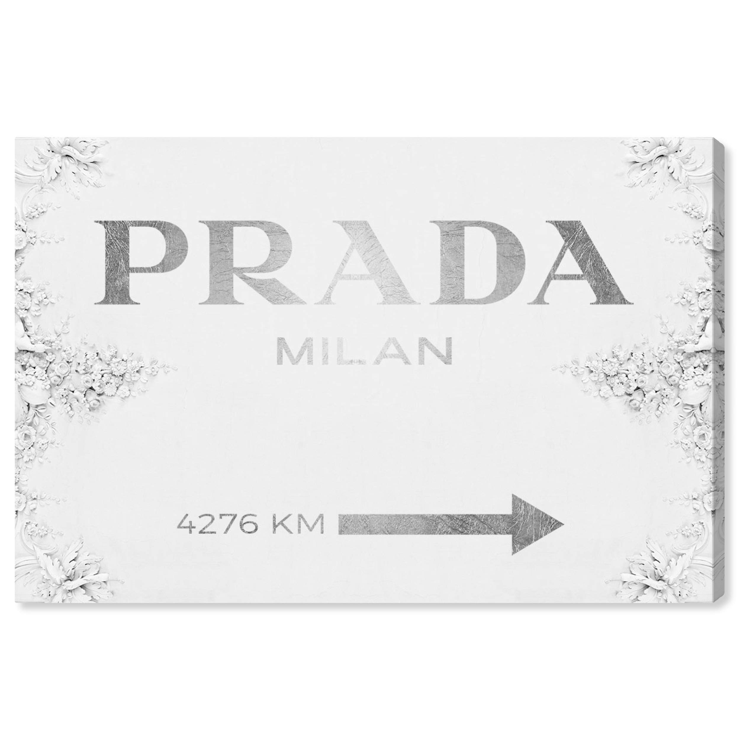 """The Oliver Gal Artist Co. Fashion and Glam Wall Art Canvas Prints 'Milan Sign Contemporary' Home Décor, 15"""" x 10"""", Gray, White"""