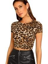 Verdusa Women's Round Neck Short Sleeve Velvet Crop Tee Top