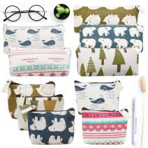 Koogel 10 Packs Canvas Zipper Pencil Bags, 5 Style Pencil Case Pouch Bag Small Cosmetic Makeup Bags Coin Purse Multifunctional Cosmetic Makeup Bag Small Pouches for Purse