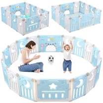Baby Playpen, Dripex Upgrade 14-Panel Foldable Kids Activity Centre Safety Play Yard Home Indoor Outdoor Baby Fence Play Pen NO Gaps with Gate for Baby Boys Girls Toddlers (Blue + White)