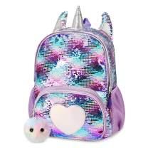 Mibasies Kids Sequin Unicorn Backpack for Girls Rainbow School Bag(Purple Sequin)