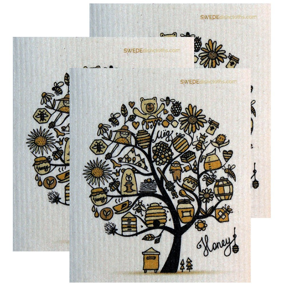 HoneyTree Set of 3 Each Swedish Dishcloths | ECO Friendly Absorbent Cleaning Cloth | Reusable Cleaning Wipes