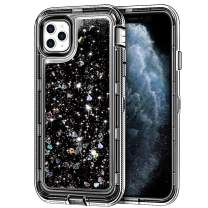 "iPhone 11 Pro Max Case, Anuck 3 in 1 Hybrid Heavy Duty Defender Armor Sparkly Floating Liquid Glitter Protective Hard Shell Shockproof Anti-Slip TPU Bumper Cover for iPhone 11 Pro Max 6.5"" - Black"
