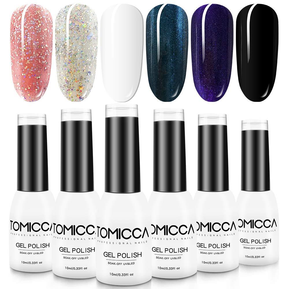 TOMICCA Gel Nail Polish Set - Black Pink Glitter 6 Colors 10ML Soak Off UV LED Gel Polish Nail Art Designer Kit for Starter at Home