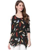Allegra K Women's Cut-Out 3/4 Sleeve Irregular Hem Feather Print Knit Tunic Top
