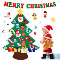 Ezzmo Felt Christmas Tree for Toddlers Kids, DIY Christmas Tree with 26 Pcs Ornaments Xmas Gifts Home Door Wall Decorations (Felt Christmas Tree+Merry Christmas Banner