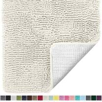 Gorilla Grip Original Luxury Chenille Bathroom Rug Mat, 60x24, Extra Soft and Absorbent Shaggy Rugs, Machine Wash Dry, Perfect Plush Carpet Mats for Tub, Shower, and Bath Room, Ivory Cream