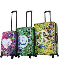 """Mia Toro Prado-Peace Love H.iness Spinner Luggage 3 Piece Set (20"""", 24"""", 28"""")"""