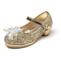 Chiximaxu Maxu Girl's Cosplay Princess Shoes Low Heel with Crystal Flower(Toddler/Little Kid)