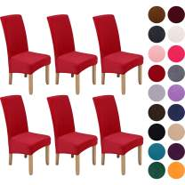 Colorxy Large Velvet Spandex Chair Covers for Dining Room Set of 6, Soft Stretch Chair Protectors Slipcovers, Removable and Washable, Red