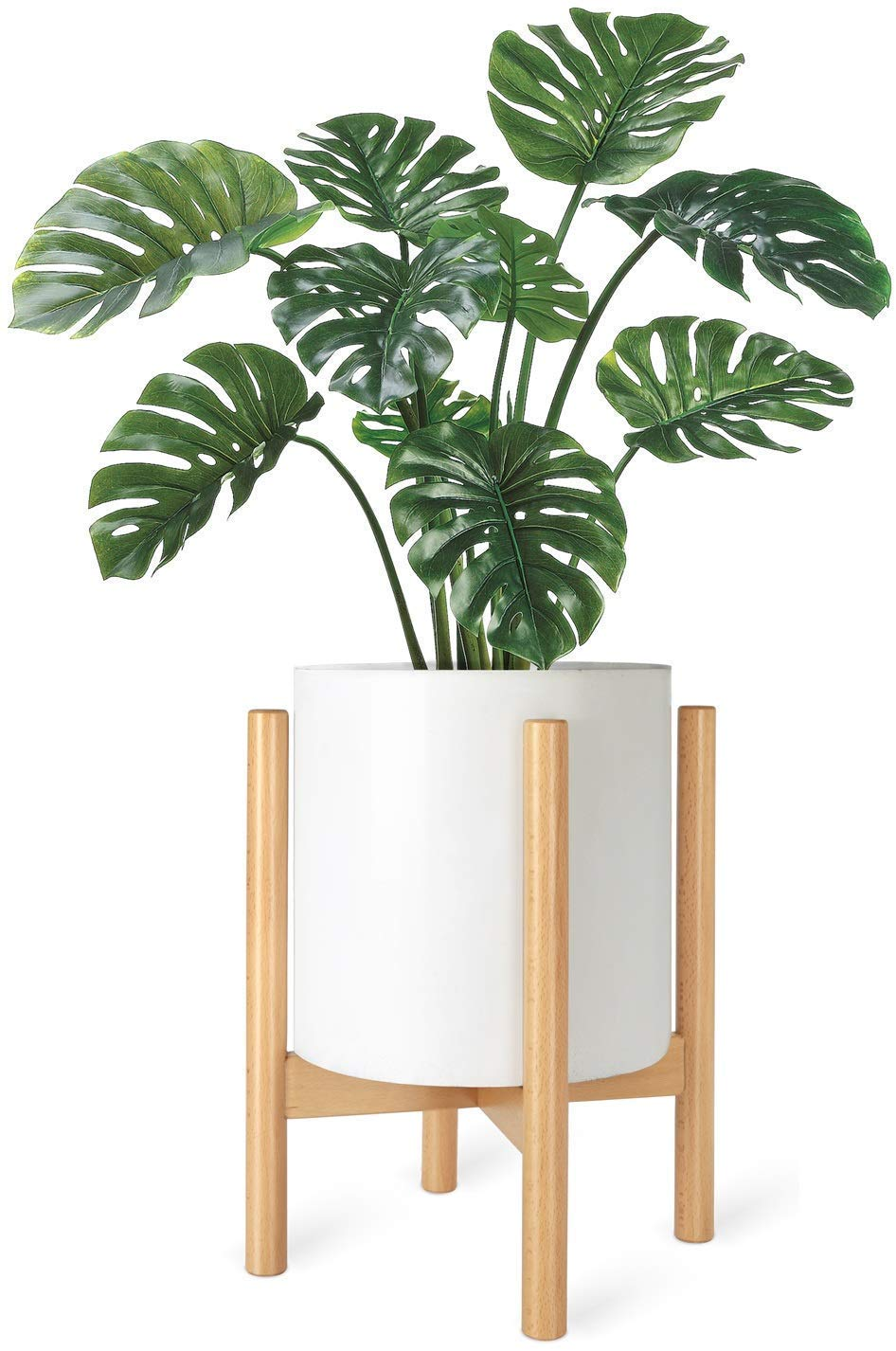 Mkono Plant Stand Mid Century Wood Flower Pot Holder (Pot Not Included) Display Potted Rack Rustic, Up to 10 Inch Planter, Natural
