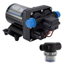 RecPro RV Water Pump   12V Electric 4 Chamber Water Pump with Pressure and Bypass Switch   45 PSI Max Draw 8.0AMP GPM/LPM 3.0/11.6   Self Priming (with Strainer, No Silencer)