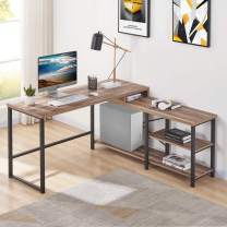 BON AUGURE L Shaped CornerComputerDesk, Rustic Wood and Metal Office Desk with Storage Shelves, Industrial Writing Table for Home Office (59 Inch, Vintage Oak)