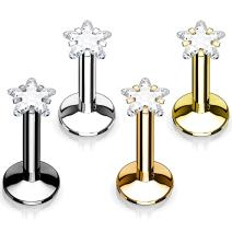 BodyJ4You 4PCS Labret Stud 16G CZ 6mm Surgical Steel Tragus Earring Lip Ring Monroe Piercing Jewelry Set