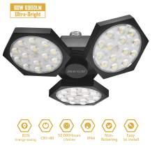 Ultra-Bright LED Garage Light JACKYLED 60W High Brightness 6900LM CRI80 Deformable Trilights Garage Lights Adjustable Light with 3 Panel Shop Light for Garage Basement Warehouse