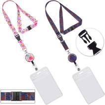 Lanyard with id Holder lanyards with Retractable Badge Reel Holder ID Holder Vertical Cruise Lanyards for id Badges Women Keys Men Ship Card Kids Breakaway Safety Pink Elephant Lanyards Wide 0.79inch