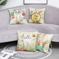 Dicry Easter Theme Throw Pillow Covers Cotton Linen Set of 4 Square 18 x 18 Inch Zipper Animal Print Soft Sofa Couch Cushion Case Room Home Art Decorative Beige
