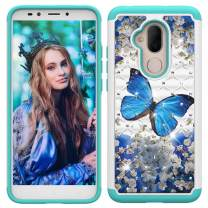 Lantier Heavy Duty Glitter Bling Hybrid Dual Layer 2 in 1 Hard Cover Soft TPU Impact Armor Defender Protective Shockproof Diamond Case for Alcatel 7 (2018)/Revvl 2 Plus 2018/7 Folio Blue Butterfly