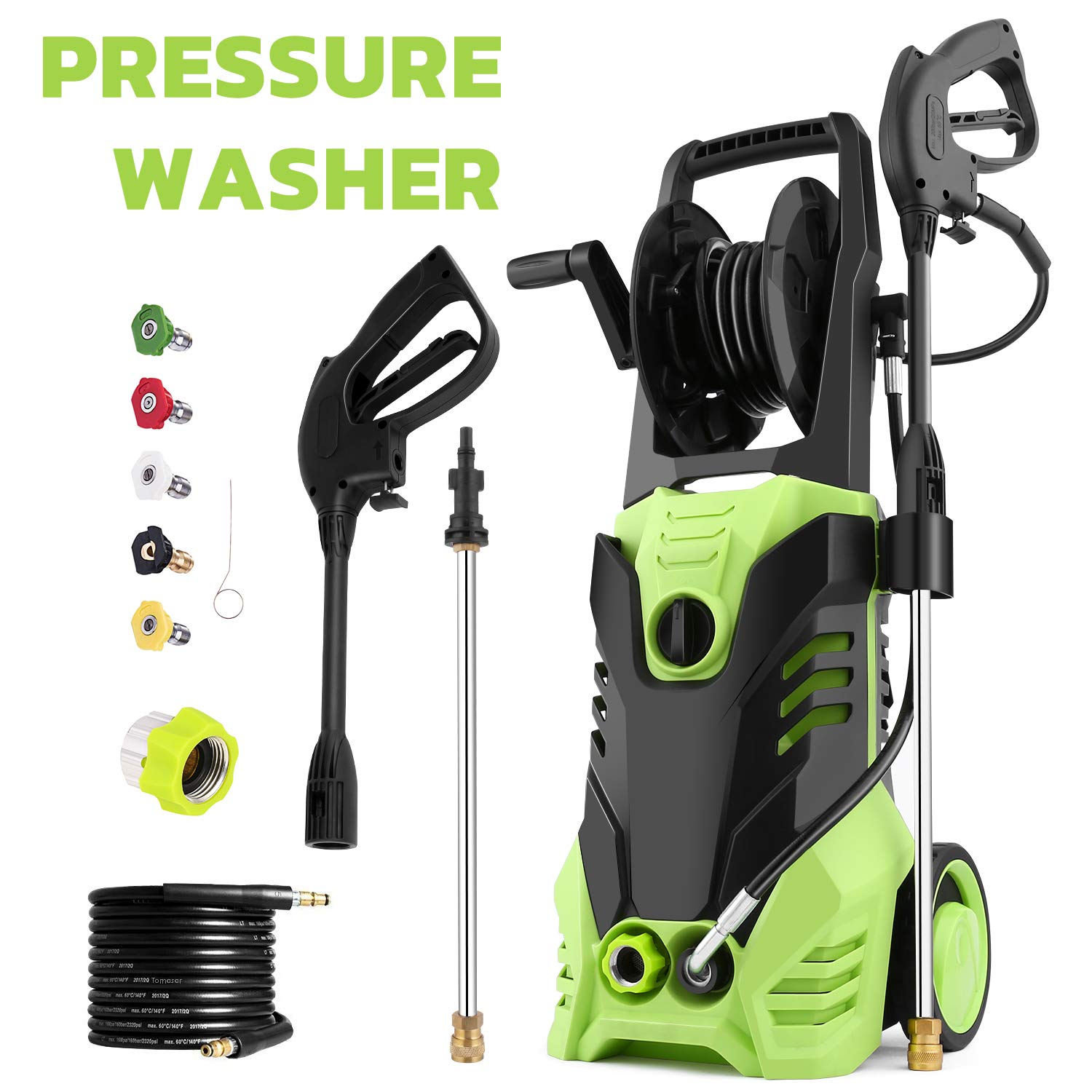 Homdox 2880 PSI Electric Pressure Washer 1.7 GPM High Pressure Washer 1800W Electric Power Washer Cleaner with Hose Reel 5 Nozzles