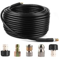 BCBUSY Sewer Jetter Kit for Pressure Washer, 1/4 Inch MNPT x 100 FT Drain Cleaning Hose, Power Washer Hose, Button Nose and Rotating Sewer Jetting Nozzle, Orifice 4.0, 5,800 PSI